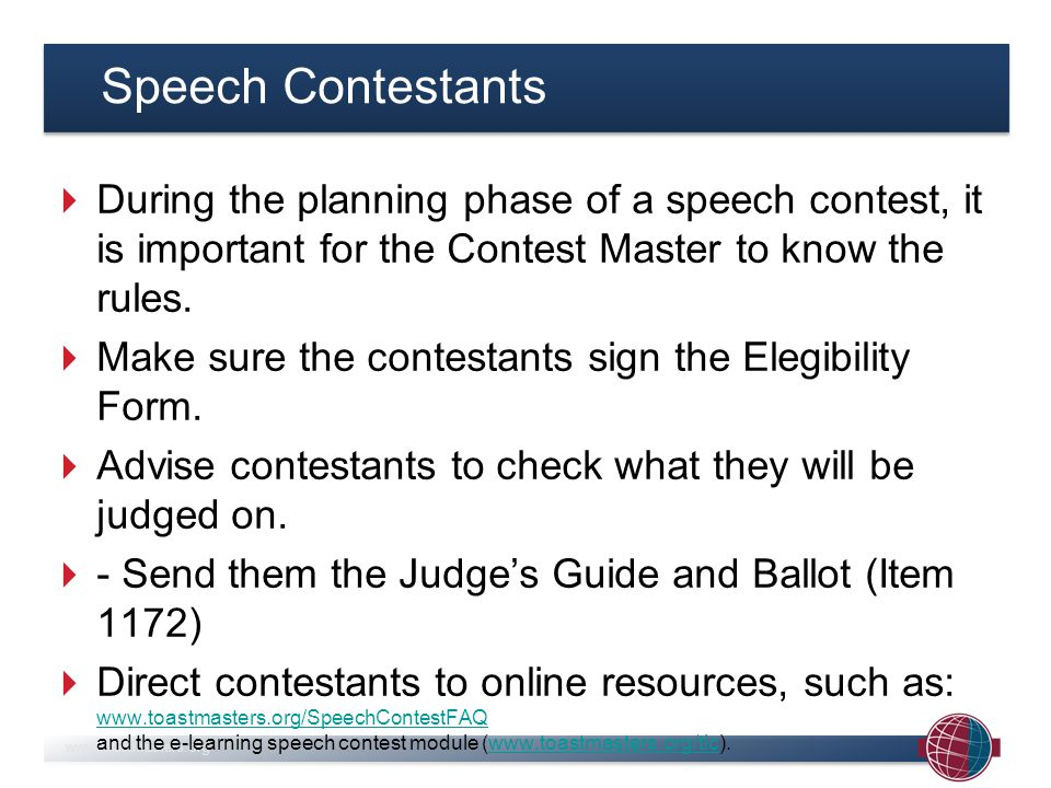 www.toastmasters.org Judging is different from evaluating on a regular Toastmasters evening.