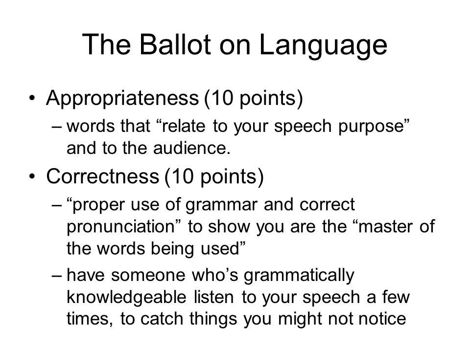 The Ballot on Language Appropriateness (10 points) –words that relate to your speech purpose and to the audience. Correctness (10 points) –proper use