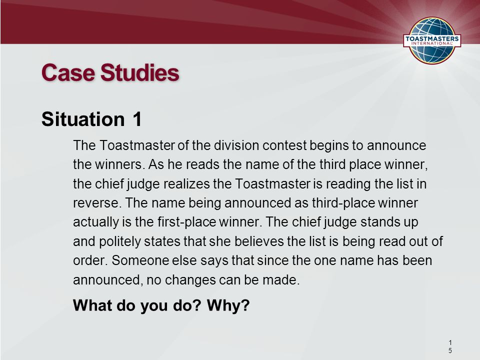 The Toastmaster of the division contest begins to announce the winners.