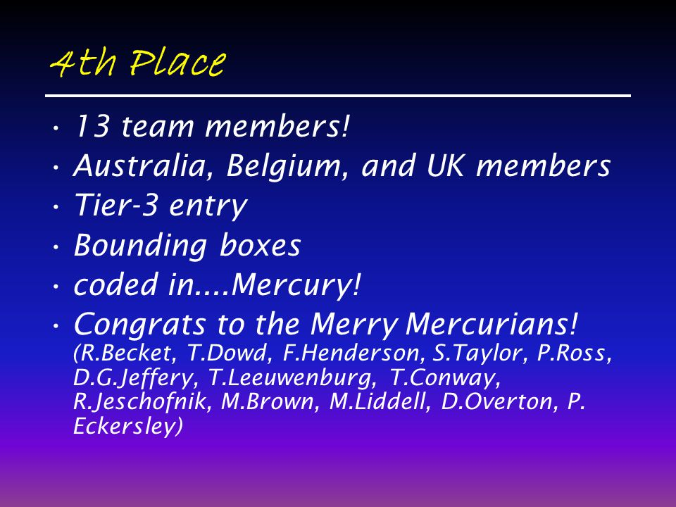 4th Place 13 team members! Australia, Belgium, and UK members Tier-3 entry Bounding boxes coded in....Mercury! Congrats to the Merry Mercurians! (R.Be