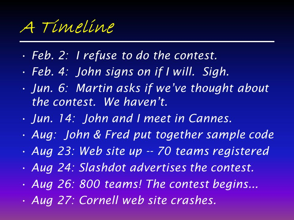 A Timeline Feb. 2: I refuse to do the contest. Feb. 4: John signs on if I will. Sigh. Jun. 6: Martin asks if weve thought about the contest. We havent