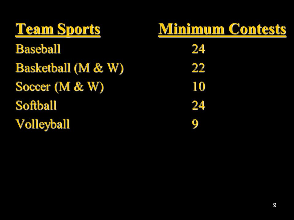 8 Scheduled contests that are cancelled or not completed (in accordance with the playing rules of that particular sport) may not be counted.