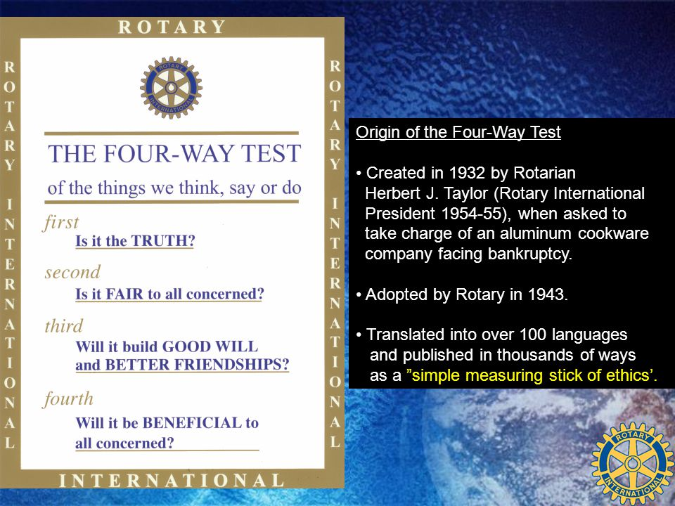 For more information about the Rotary 4 Way Speech Contest: Contact the following teachers at Name High School Name 1 (List teacher sponsor names) Name 2 etc
