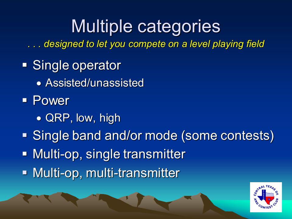 Multiple categories Single operator Single operator Assisted/unassisted Assisted/unassisted Power Power QRP, low, high QRP, low, high Single band and/or mode (some contests) Single band and/or mode (some contests) Multi-op, single transmitter Multi-op, single transmitter Multi-op, multi-transmitter Multi-op, multi-transmitter...