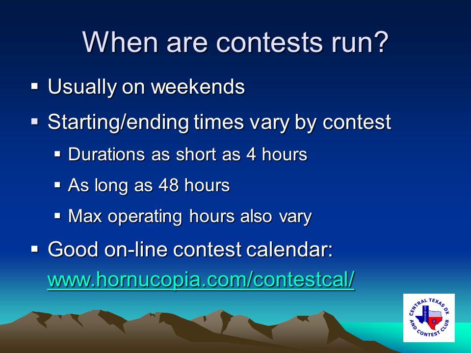 When are contests run.