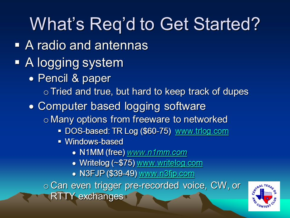 Whats Reqd to Get Started.