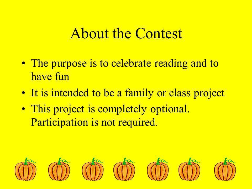 Contest Rules Pumpkins should represent a favorite book character.