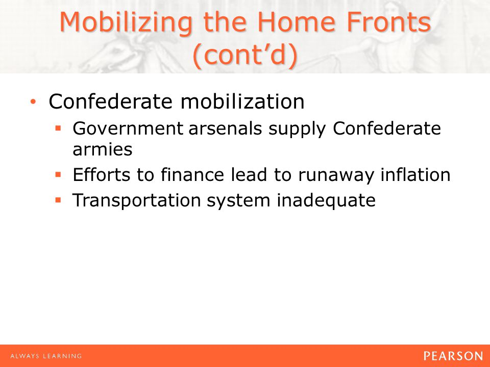 Mobilizing the Home Fronts (contd) Confederate mobilization Government arsenals supply Confederate armies Efforts to finance lead to runaway inflation Transportation system inadequate