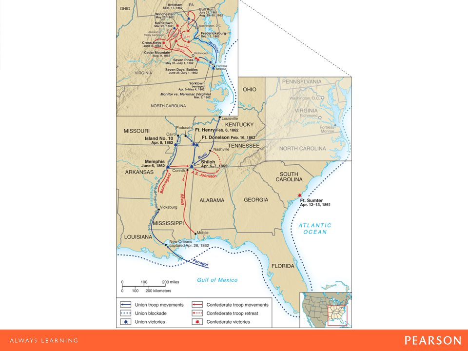 Map 15.2 Civil War, 1861–1865 In the western theater of war, Grants victories at Port Gibson, Jackson, and Champions Hill cleared the way for his siege of Vicksburg.