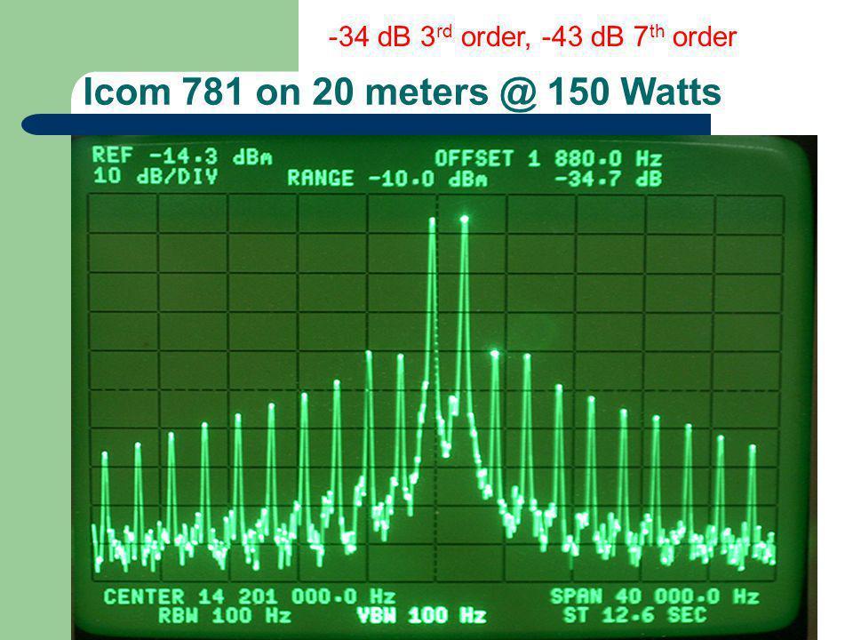 Icom 781 on 20 meters @ 150 Watts -34 dB 3 rd order, -43 dB 7 th order