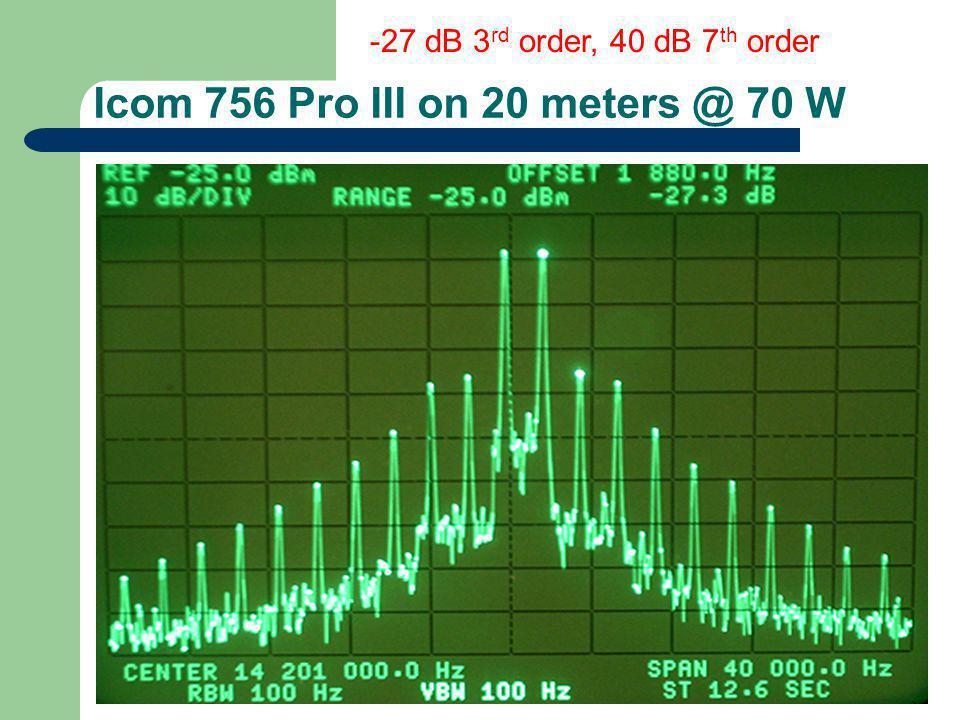 Icom 756 Pro III on 20 meters @ 70 W -27 dB 3 rd order, 40 dB 7 th order