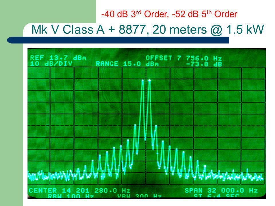Mk V Class A + 8877, 20 meters @ 1.5 kW -40 dB 3 rd Order, -52 dB 5 th Order