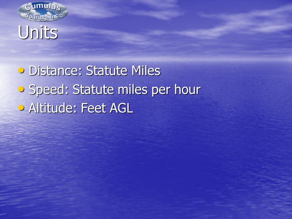 Units Distance: Statute Miles Distance: Statute Miles Speed: Statute miles per hour Speed: Statute miles per hour Altitude: Feet AGL Altitude: Feet AGL