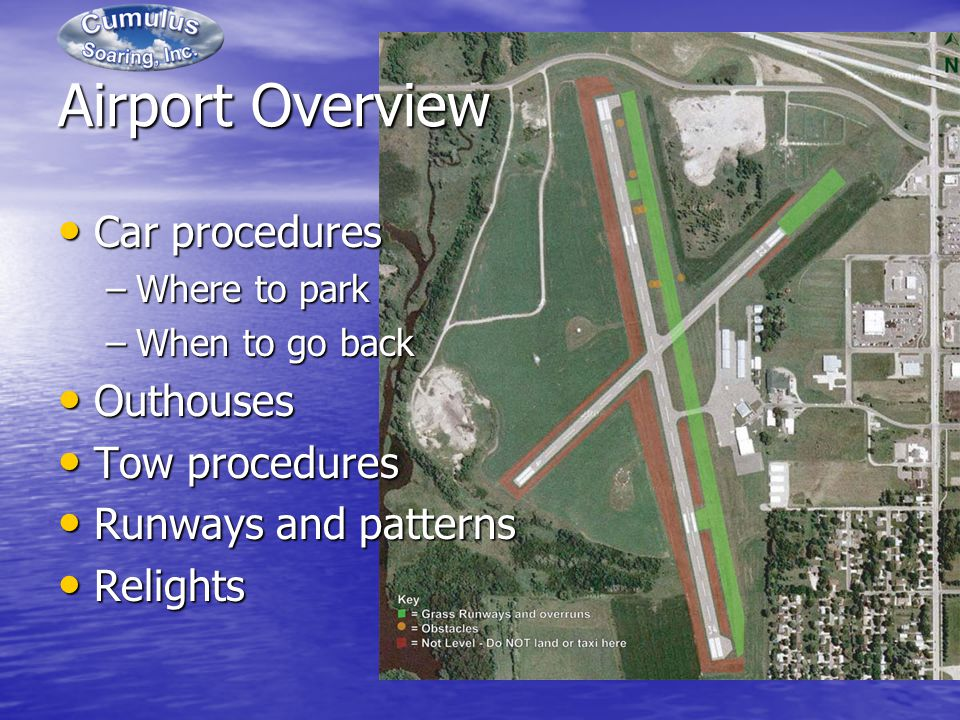 Airport Overview Car procedures Car procedures –Where to park –When to go back Outhouses Outhouses Tow procedures Tow procedures Runways and patterns Runways and patterns Relights Relights