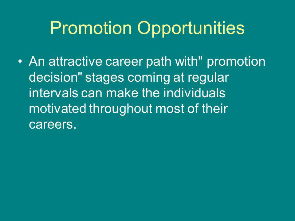 Promotion Opportunities An attractive career path with promotion decision stages coming at regular intervals can make the individuals motivated throughout most of their careers.