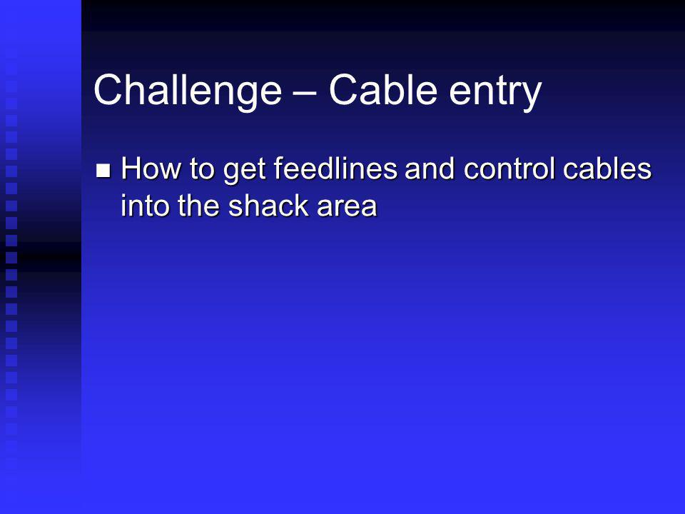 Challenge – Cable entry How to get feedlines and control cables into the shack area How to get feedlines and control cables into the shack area