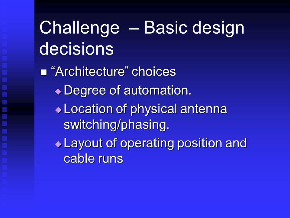 Challenge – Basic design decisions Architecture choices Architecture choices Degree of automation. Degree of automation. Location of physical antenna