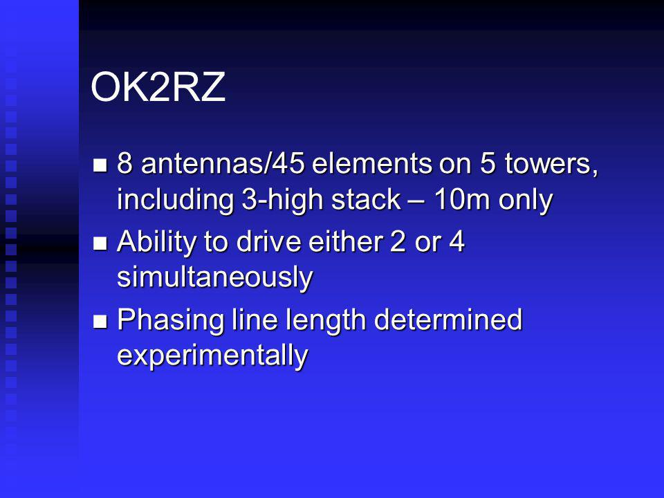 OK2RZ 8 antennas/45 elements on 5 towers, including 3-high stack – 10m only 8 antennas/45 elements on 5 towers, including 3-high stack – 10m only Abil