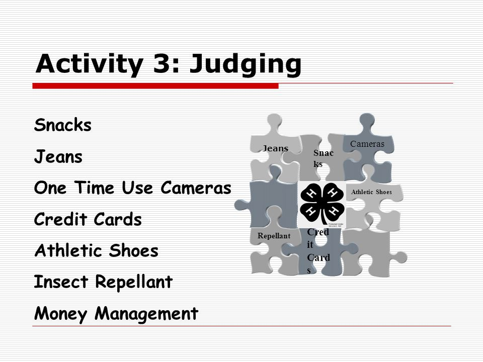 Activity 3: Judging Cred it Card s Athletic Shoes Repellant Snac ks Cameras Snacks Jeans One Time Use Cameras Credit Cards Athletic Shoes Insect Repel