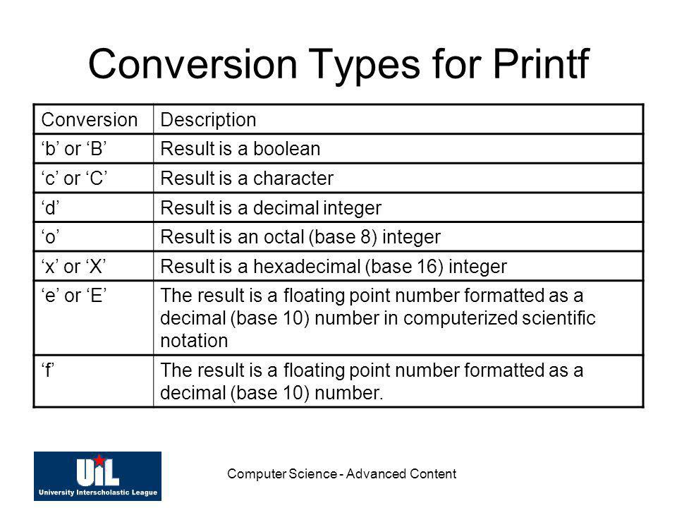 Computer Science - Advanced Content Conversion Types for Printf ConversionDescription b or BResult is a boolean c or CResult is a character dResult is