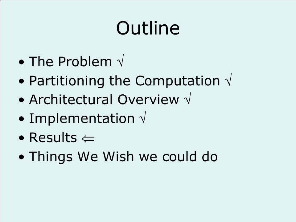 Outline The Problem Partitioning the Computation Architectural Overview Implementation Results Things We Wish we could do