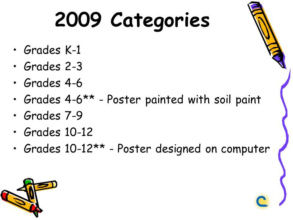 2009 Categories Grades K-1 Grades 2-3 Grades 4-6 Grades 4-6** - Poster painted with soil paint Grades 7-9 Grades 10-12 Grades 10-12** - Poster designed on computer