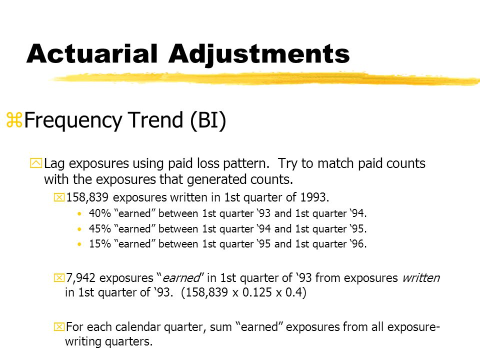 Actuarial Adjustments zFrequency Trend (BI) yLag exposures using paid loss pattern.