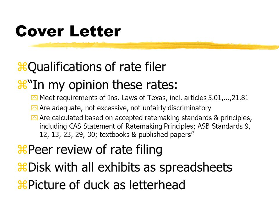 Cover Letter zQualifications of rate filer zIn my opinion these rates: yMeet requirements of Ins.