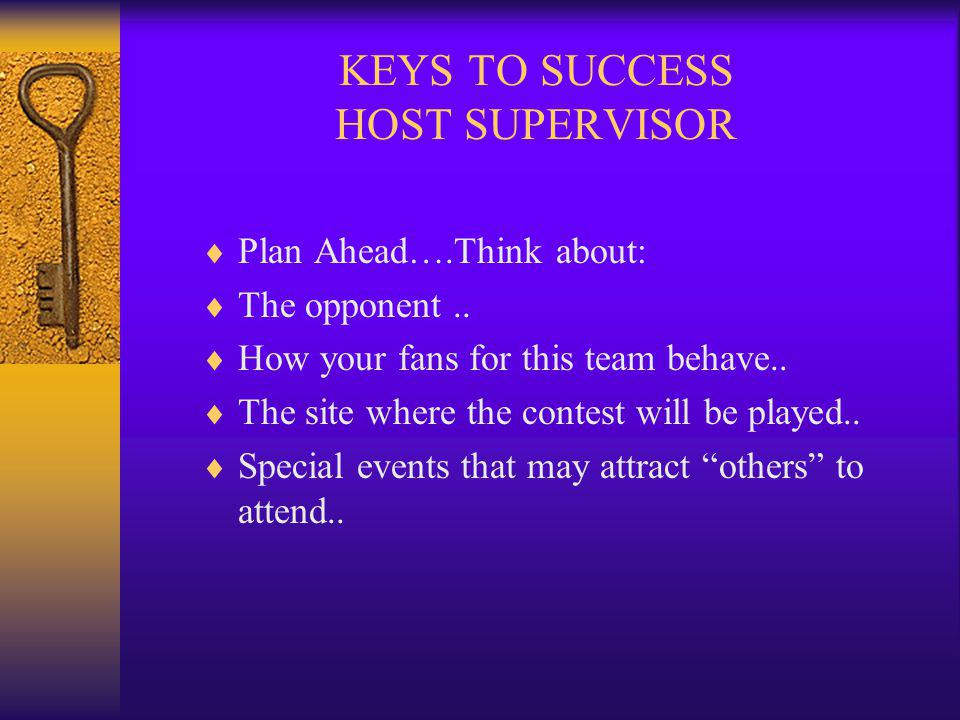 KEYS TO SUCCESS HOST SUPERVISOR Plan Ahead….Think about: The opponent..