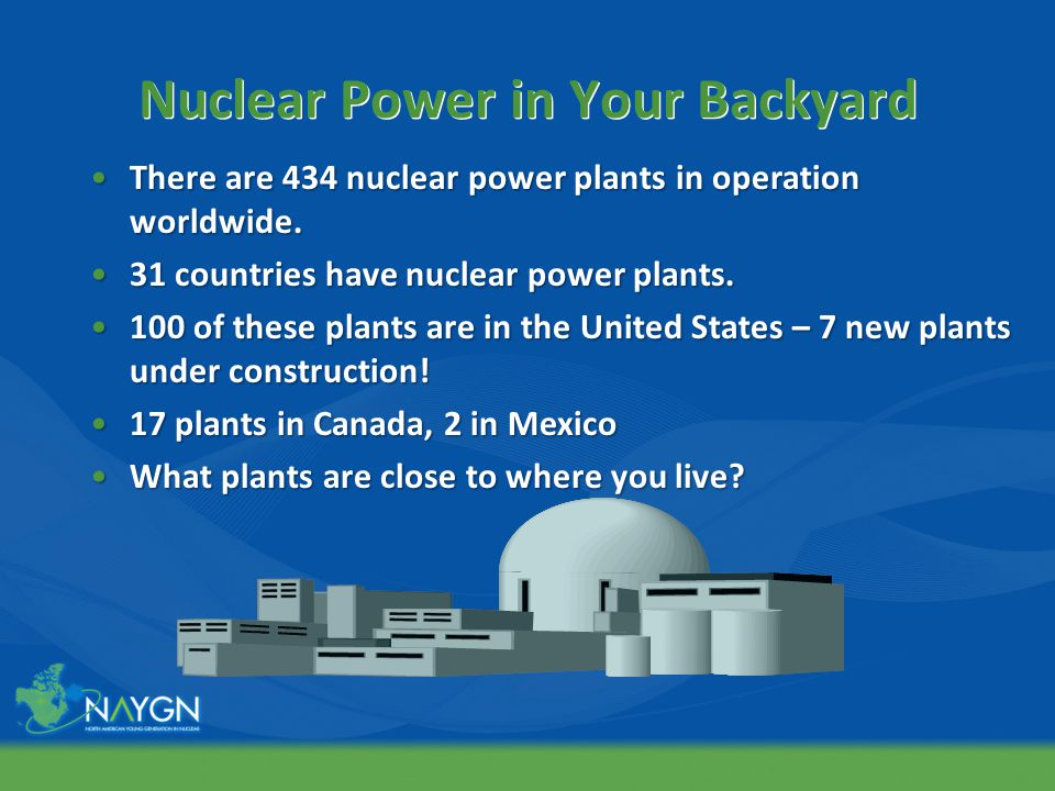 Nuclear Power in Your Backyard There are 434 nuclear power plants in operation worldwide.There are 434 nuclear power plants in operation worldwide.