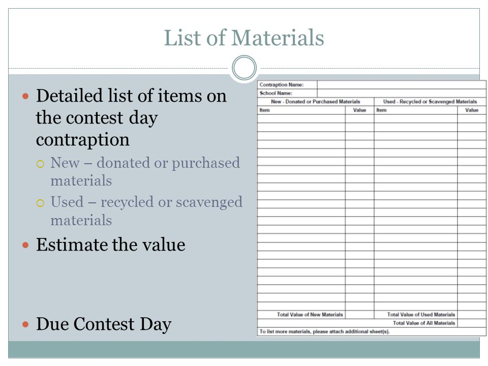 List of Materials Detailed list of items on the contest day contraption New – donated or purchased materials Used – recycled or scavenged materials Estimate the value Due Contest Day
