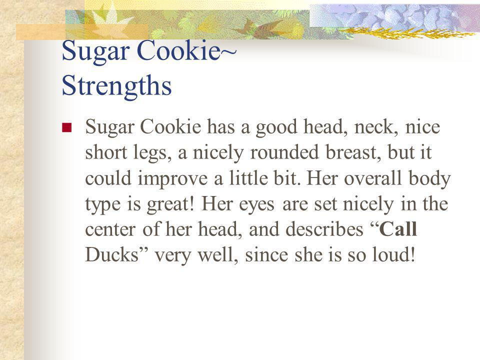 Sugar Cookie~ Strengths Sugar Cookie has a good head, neck, nice short legs, a nicely rounded breast, but it could improve a little bit.