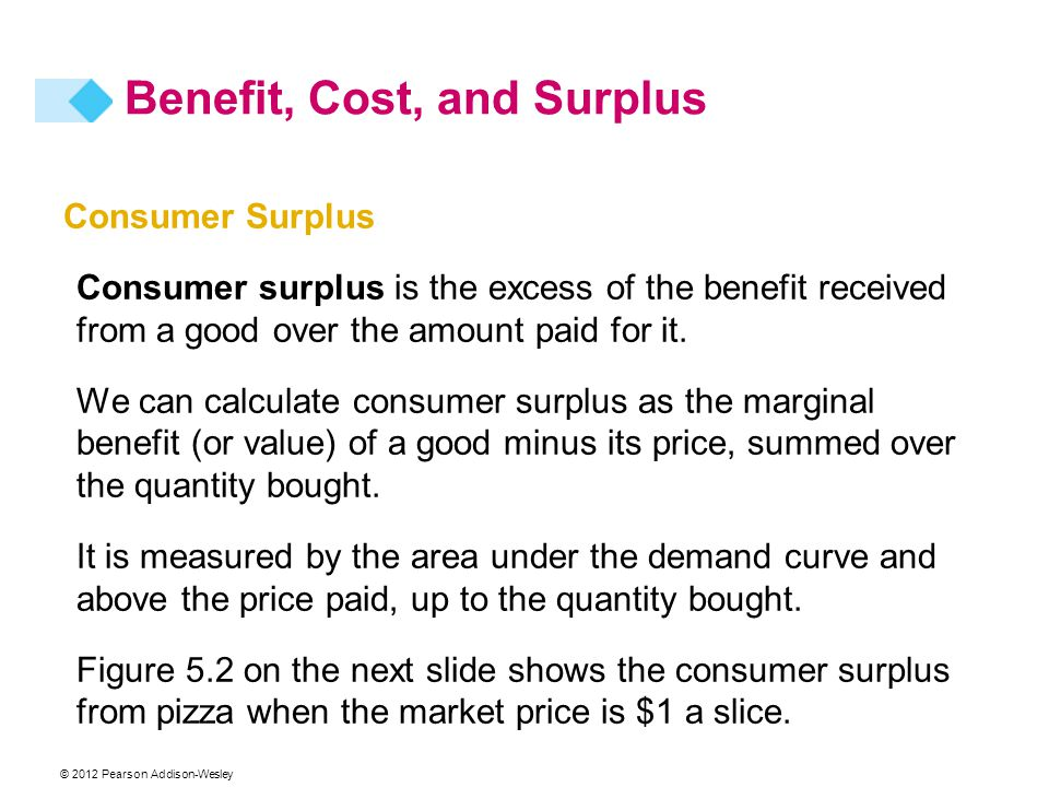 © 2012 Pearson Addison-Wesley Consumer Surplus Consumer surplus is the excess of the benefit received from a good over the amount paid for it. We can