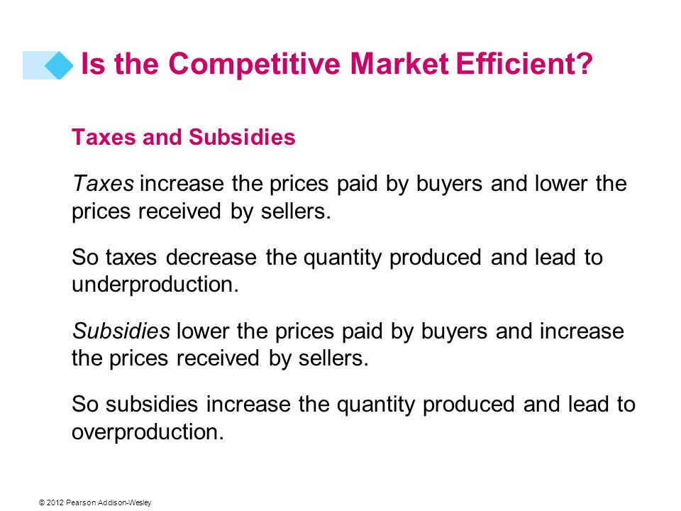 © 2012 Pearson Addison-Wesley Taxes and Subsidies Taxes increase the prices paid by buyers and lower the prices received by sellers. So taxes decrease