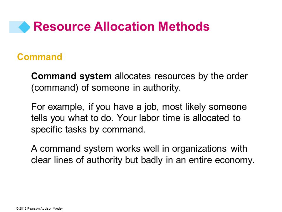 © 2012 Pearson Addison-Wesley Command Command system allocates resources by the order (command) of someone in authority. For example, if you have a jo