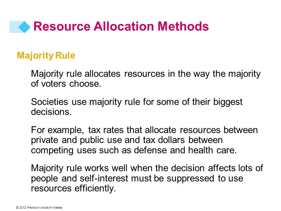 © 2012 Pearson Addison-Wesley Majority Rule Majority rule allocates resources in the way the majority of voters choose. Societies use majority rule fo