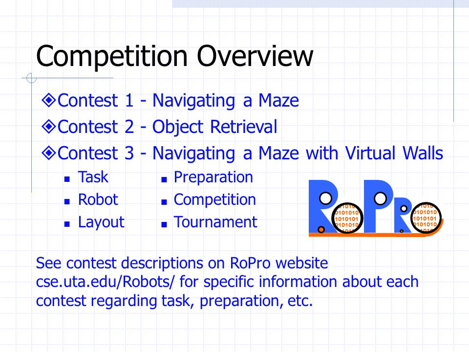 Suggestions and Ideas Compose teams mainly of sophomores and juniors Have experienced teams compete in the more challenging contests Look for school sponsors to provide an additional robot kit or other support