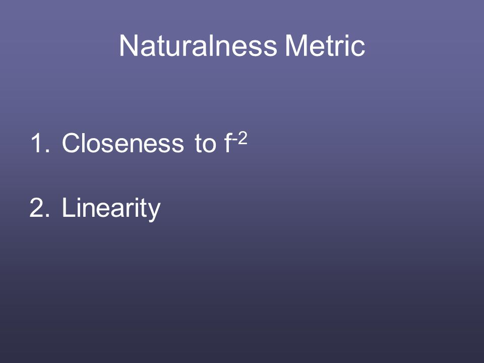 Naturalness Metric 1.Closeness to f -2 2.Linearity