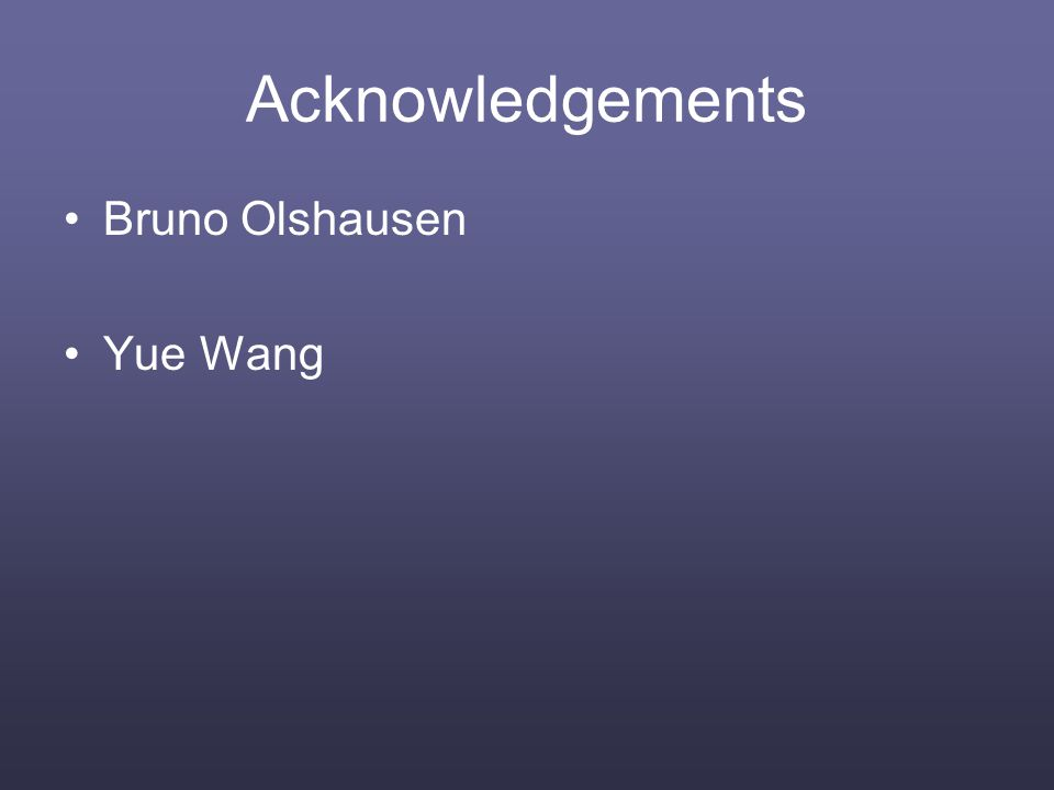 Acknowledgements Bruno Olshausen Yue Wang