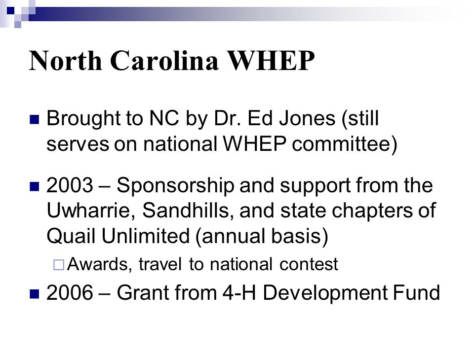 North Carolina WHEP Brought to NC by Dr.