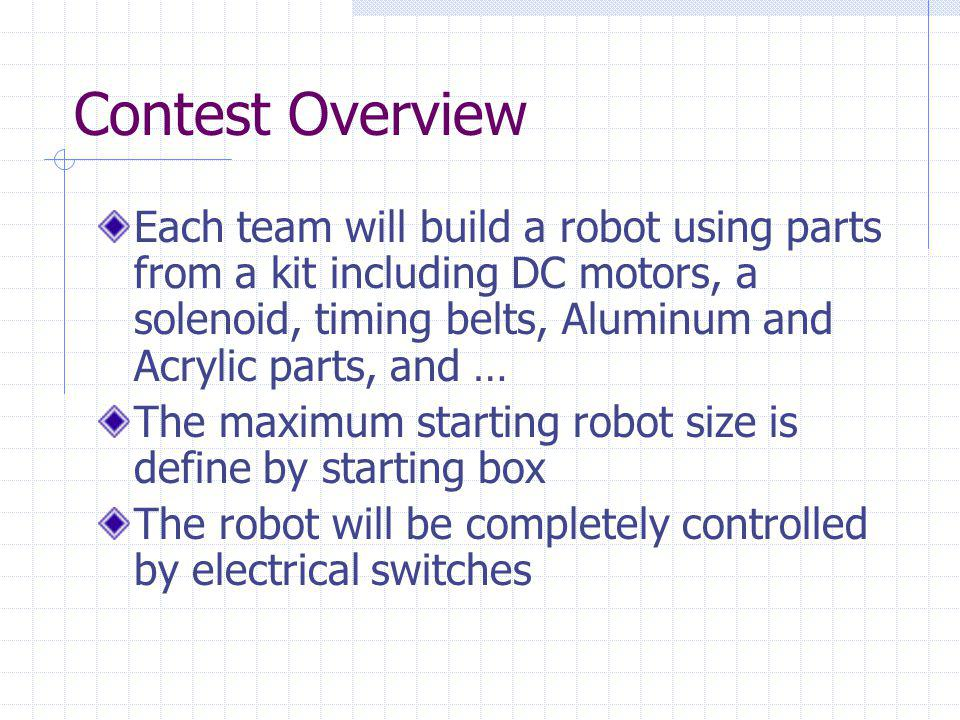 Contest Overview Each team will build a robot using parts from a kit including DC motors, a solenoid, timing belts, Aluminum and Acrylic parts, and … The maximum starting robot size is define by starting box The robot will be completely controlled by electrical switches