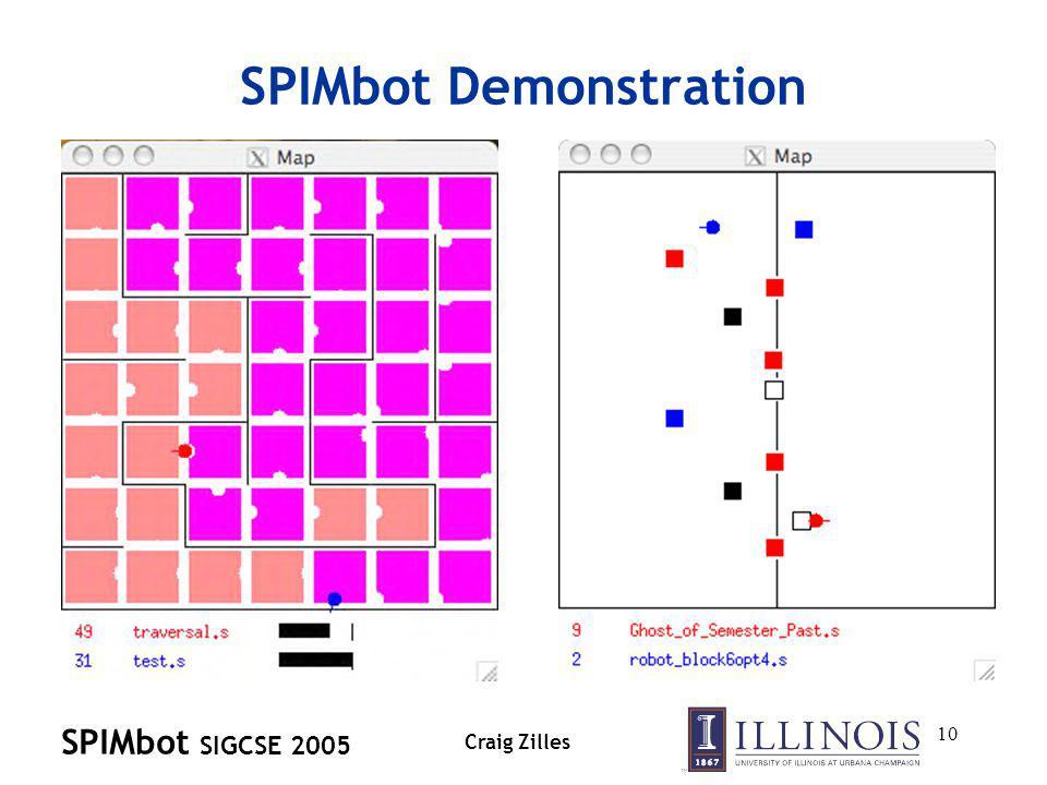 SPIMbot SIGCSE 2005 Craig Zilles 10 SPIMbot Demonstration