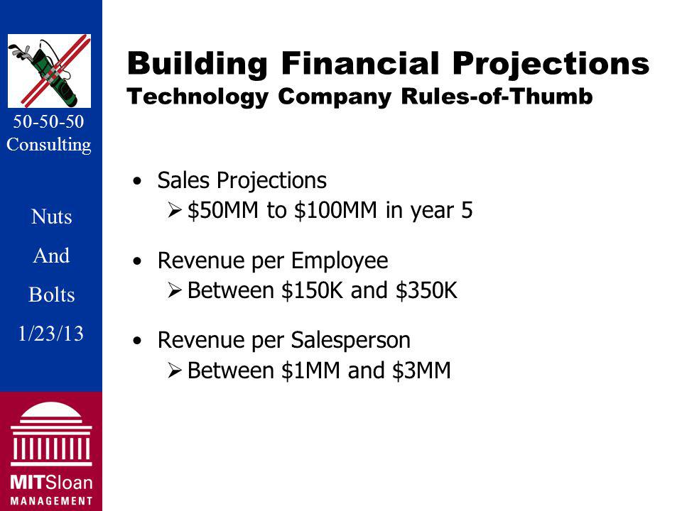 Nuts And Bolts 1/20/11 Nuts And Bolts 1/23/13 50-50-50 Consulting Building Financial Projections Technology Company Rules-of-Thumb Sales Projections $50MM to $100MM in year 5 Revenue per Employee Between $150K and $350K Revenue per Salesperson Between $1MM and $3MM
