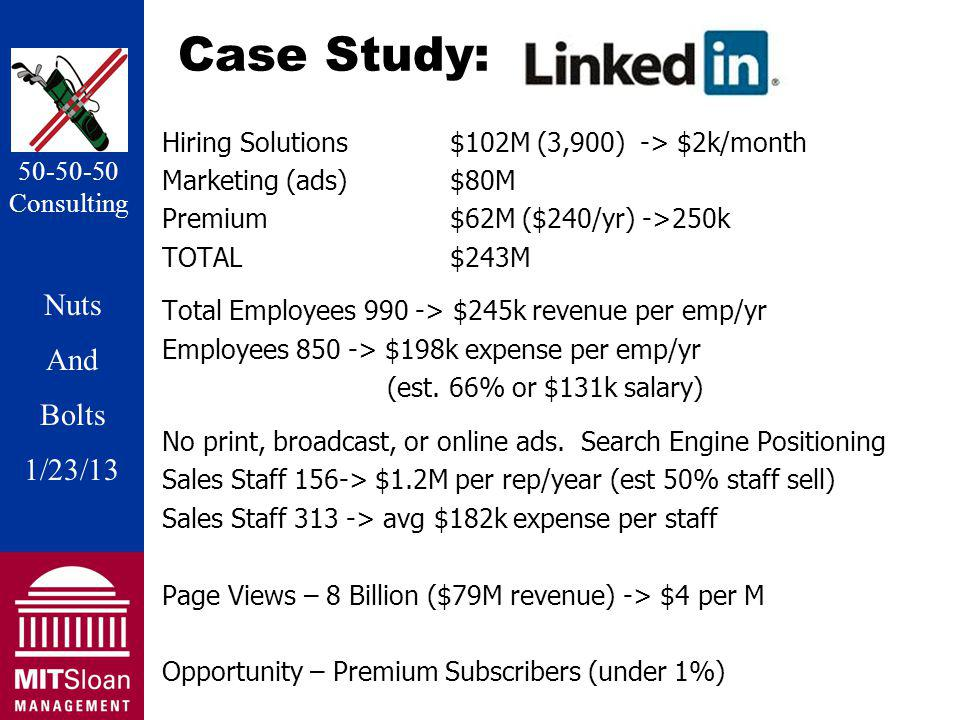 Nuts And Bolts 1/20/11 Nuts And Bolts 1/23/13 50-50-50 Consulting Case Study: Hiring Solutions$102M (3,900) -> $2k/month Marketing (ads)$80M Premium $62M ($240/yr) ->250k TOTAL$243M Total Employees 990 -> $245k revenue per emp/yr Employees 850 -> $198k expense per emp/yr (est.