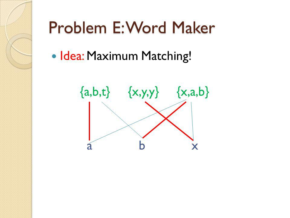 Problem E: Word Maker Idea: Maximum Matching! {a,b,t} {x,y,y} {x,a,b} a b x