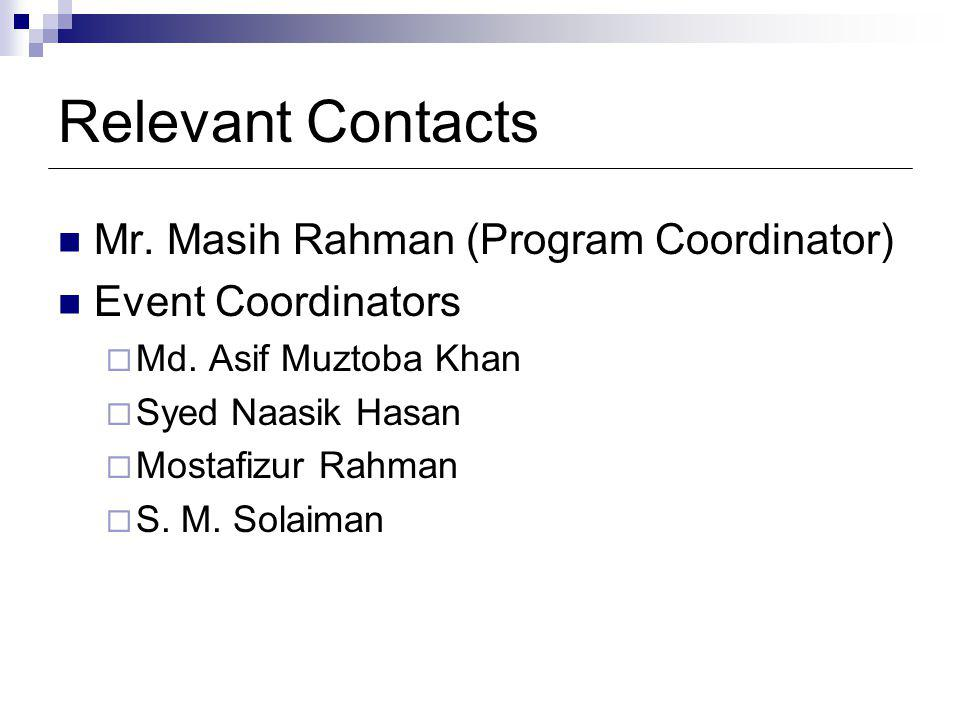 Relevant Contacts Mr. Masih Rahman (Program Coordinator) Event Coordinators Md.