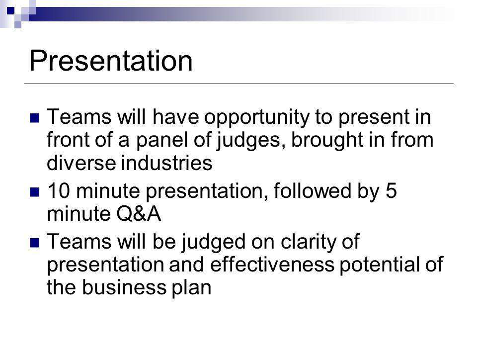 Presentation Teams will have opportunity to present in front of a panel of judges, brought in from diverse industries 10 minute presentation, followed by 5 minute Q&A Teams will be judged on clarity of presentation and effectiveness potential of the business plan