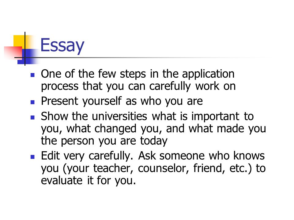 Essay One of the few steps in the application process that you can carefully work on Present yourself as who you are Show the universities what is imp