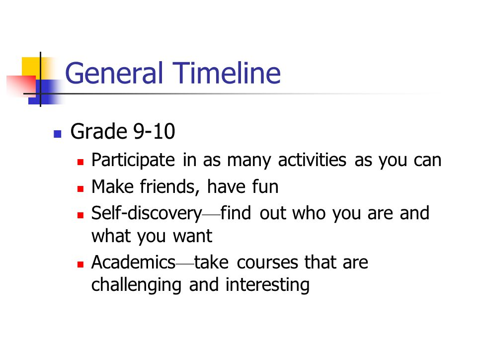General Timeline (cont d) Grade 11 Discover what your major interests are Take the SATs SAT I and SAT IIs Decide on which universities to apply to: Research, research, research.