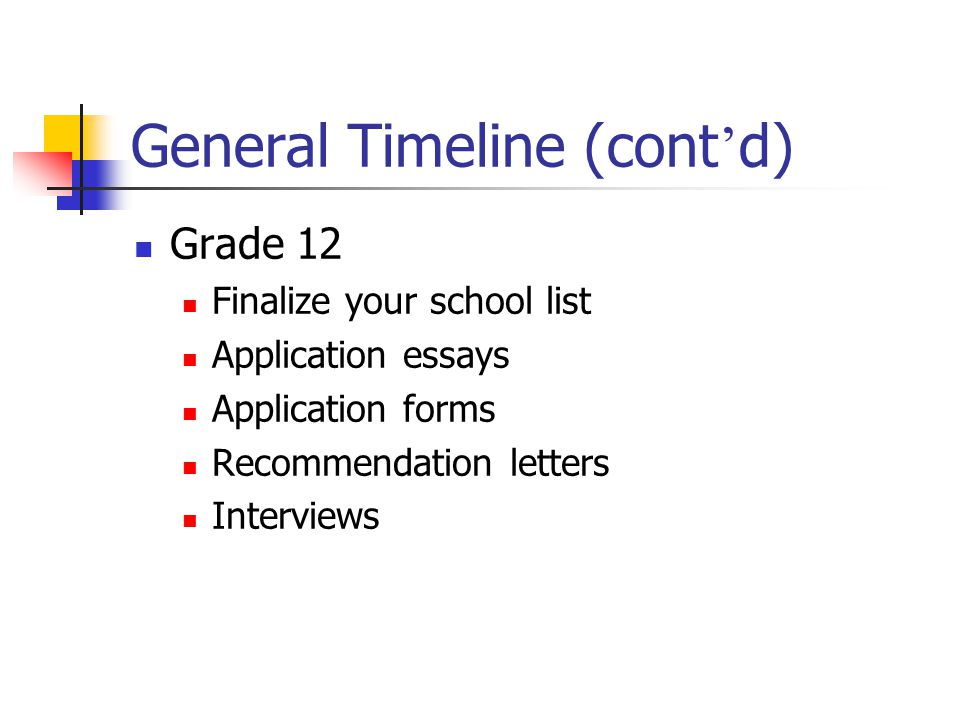 General Timeline (cont d) Grade 12 Finalize your school list Application essays Application forms Recommendation letters Interviews